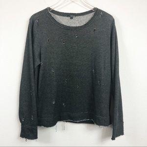 ASTARS   Grey Raw Hem Distressed Sweater
